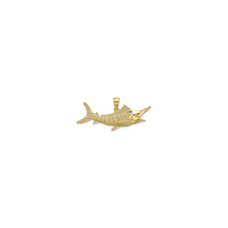 Textured Marlin Fish Pendant Large (14K) front - Popular Jewelry - New York