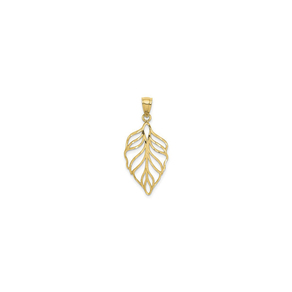 Leaf Contour Pendant (14K) front - Popular Jewelry - New York