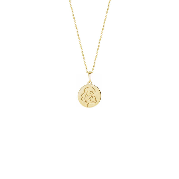 Lovely Mother with Baby Medallion Necklace yellow (14K) front - Popular Jewelry - New York