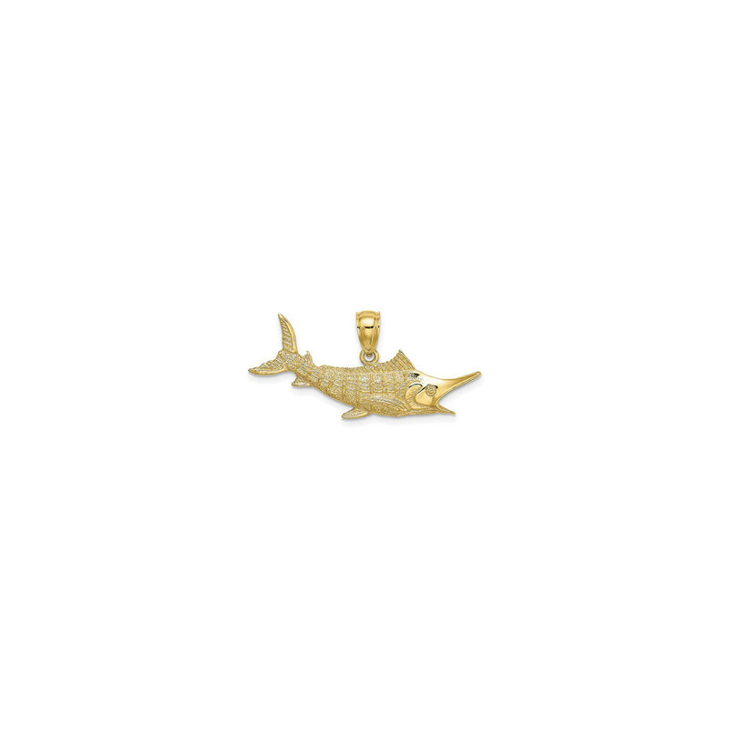 Textured Marlin Fish Pendant Medium (14K) front - Popular Jewelry - New York