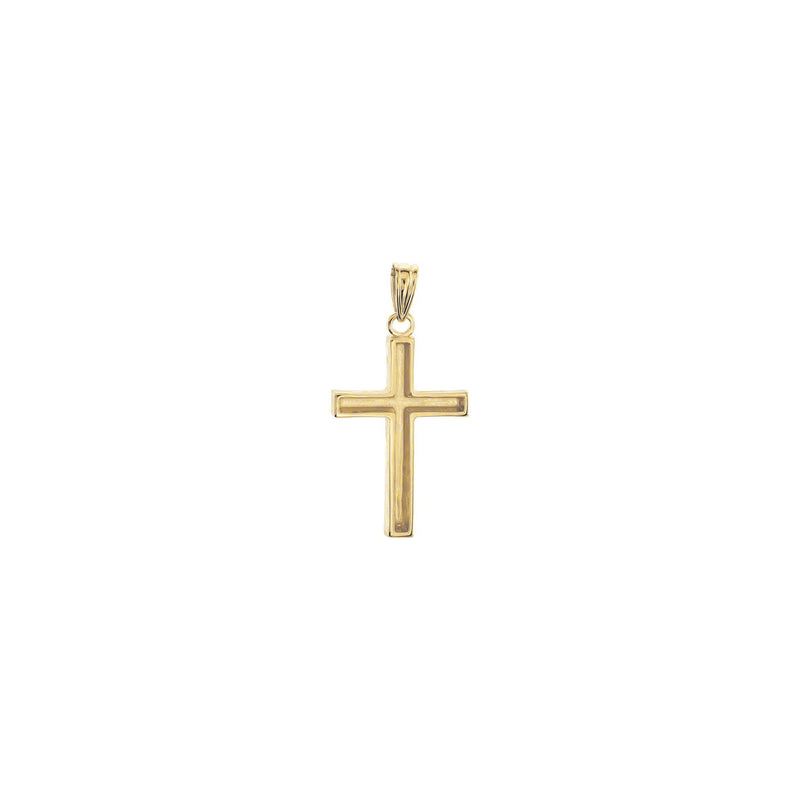 Wood Pattern Cross Pendant yellow medium (14K) back - Popular Jewelry - New York