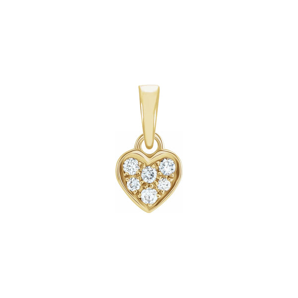 Mini Diamond Cluster Heart Pendant yellow (14K) front - Popular Jewelry - New York