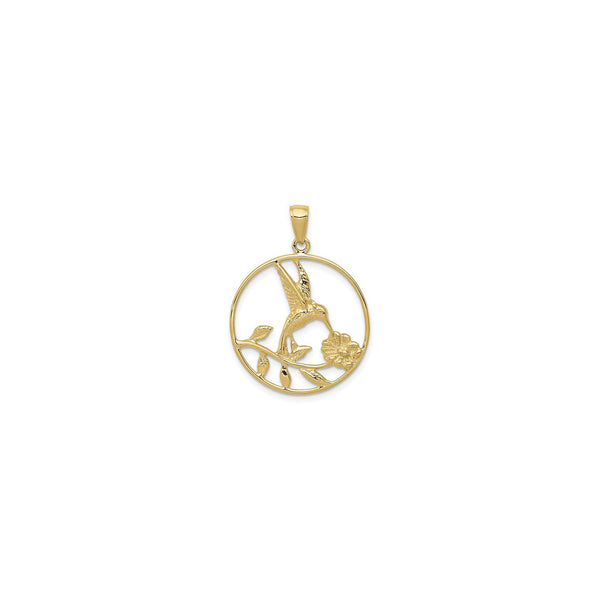 Nectar-Drinking Hummingbird Round Frame Pendant (14K) front - Popular Jewelry - New York
