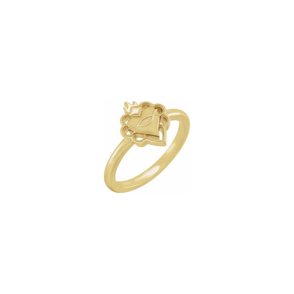 Negative Space Sacred Heart Ring yellow (14K) main - Popular Jewelry - New York