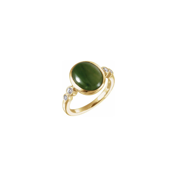 Nephrite Jade Diamond Ring (14K) main - Popular Jewelry - New York