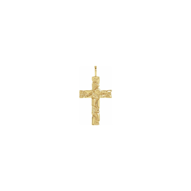 Nugget Cross Pendant yellow (14K) front - Popular Jewelry - New York