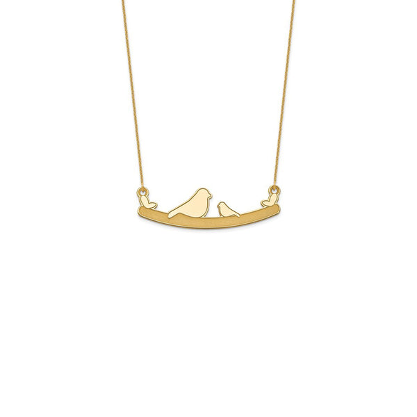 Bird Family Necklace yellow (14K) front - Popular Jewelry - New York