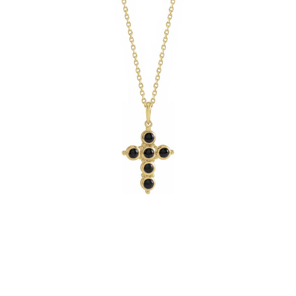 Onyx Cabochon Cross Necklace yellow (14K) front - Popular Jewelry - New York