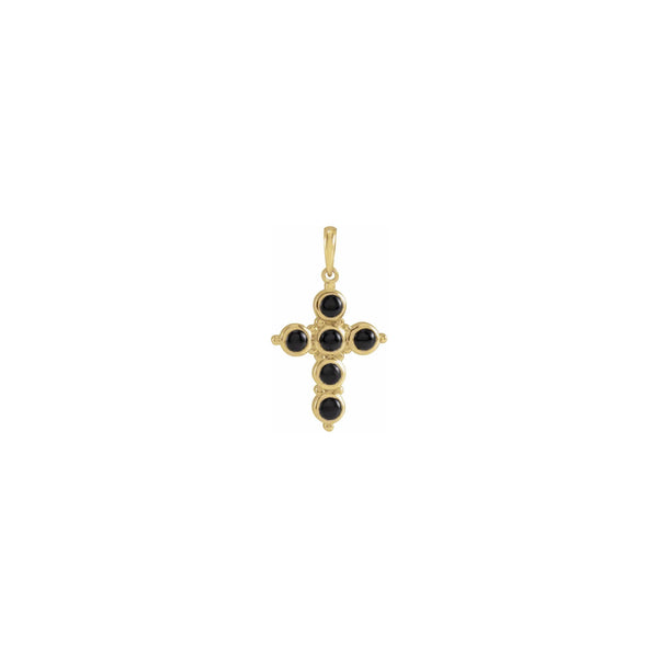 Onyx Cabochon Cross Pendant yellow (14K) front - Popular Jewelry - New York