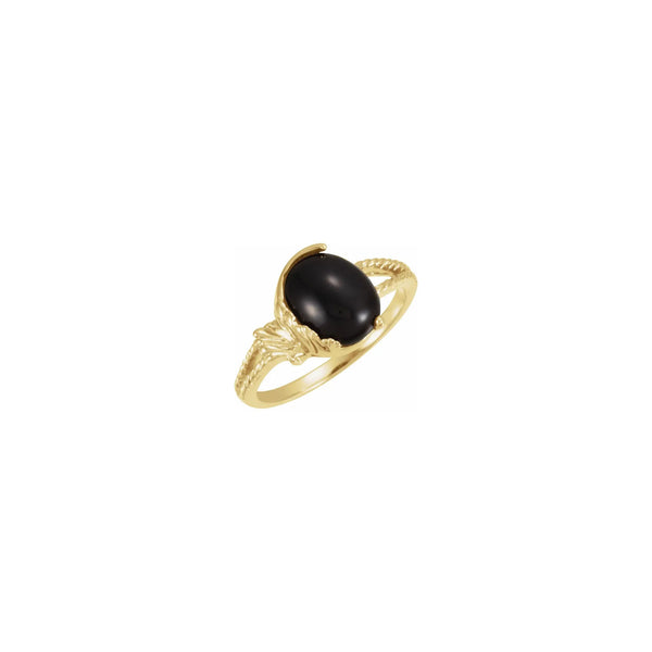 Oval Cabochon Onyx Leafy Ring yellow (14K) main - Popular Jewelry - New York