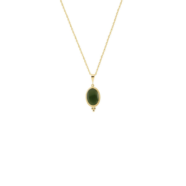 Oval Nephrite Jade Rope Framed Necklace (14K) front - Popular Jewelry - New York