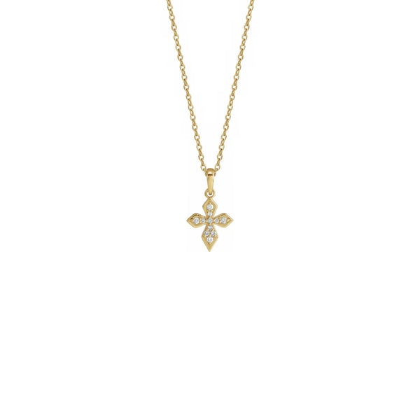 Petite Diamond Cross Necklace yellow (14K) front - Popular Jewelry - New York