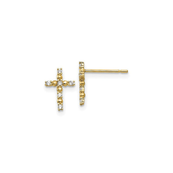 Petite White CZ Beady Cross Stud Earrings (14K) main - Popular Jewelry - New York