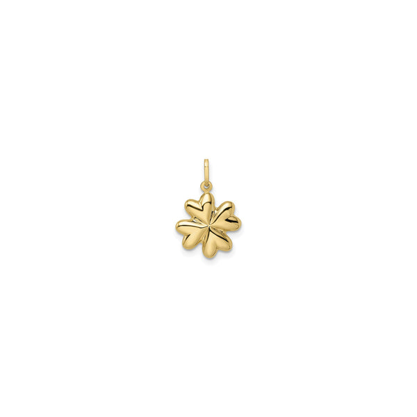 Puffed Four Leaf Clover Pendant (14K) front - Popular Jewelry - New York