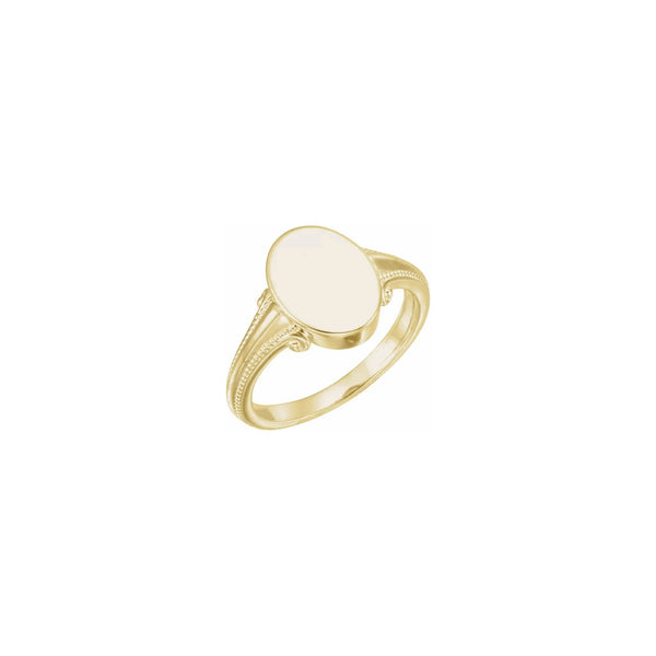 Regal Milgrain Oval Signet Ring yellow (14K) main - Popular Jewelry - New York