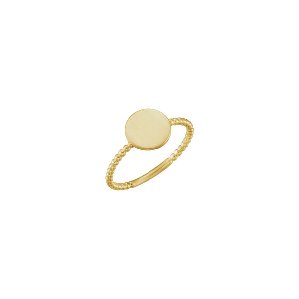Round Bead Stackable Signet Ring yellow (14K) main - Popular Jewelry - New York