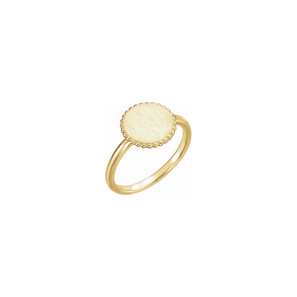 Round Beaded Stackable Signet Ring yellow (14K) main - Popular Jewelry - New York