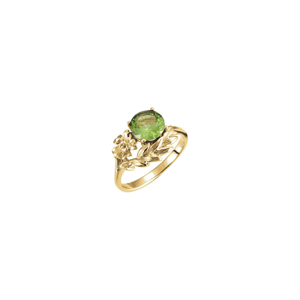 Round Green Gemstone Floral Ring yellow (14K) main - Popular Jewelry - New York