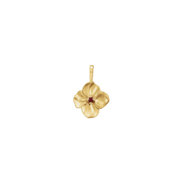 Ruby Flower Pendant yellow (14K) front - Popular Jewelry - New York