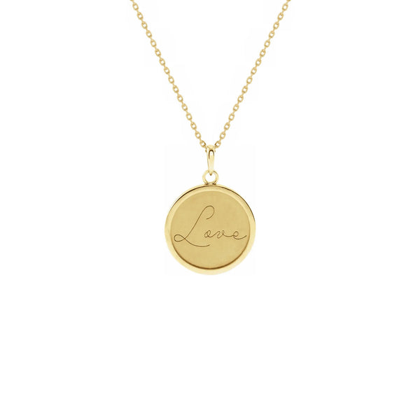 Script Font Love Engraved Medallion Necklace yellow (14K) front - Popular Jewelry - New York