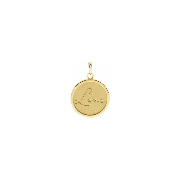Script Font Love Engraved Medallion Pendant yellow (14K) front - Popular Jewelry - New York