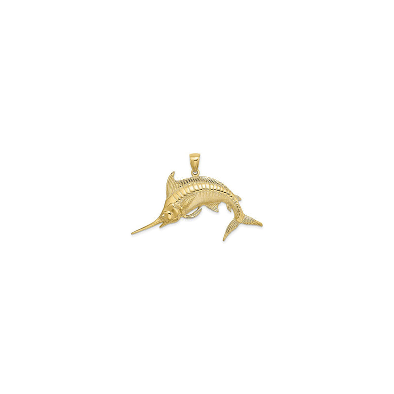 Jumping Marlin Fish Pendant Small (14K) front - Popular Jewelry - New York