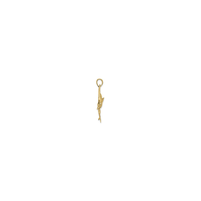 Jumping Marlin Fish Pendant Small (14K) side - Popular Jewelry - New York
