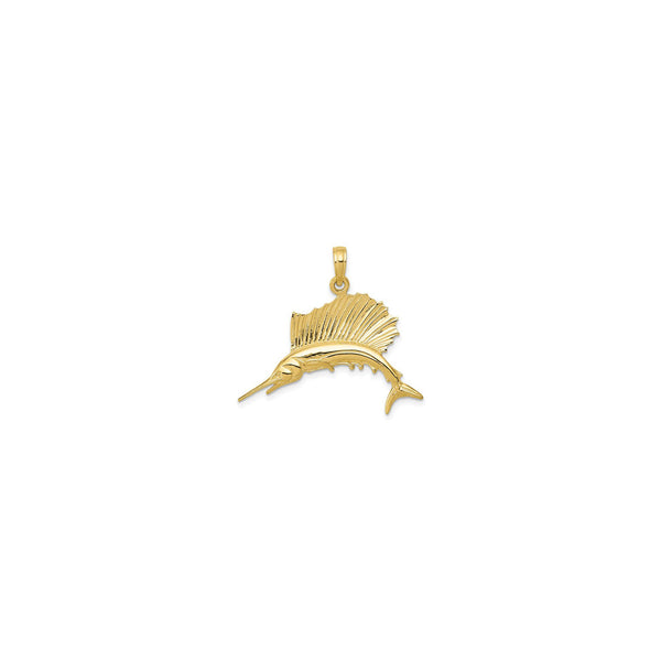 Sailfish Pendant small (14K) front - Popular Jewelry - New York