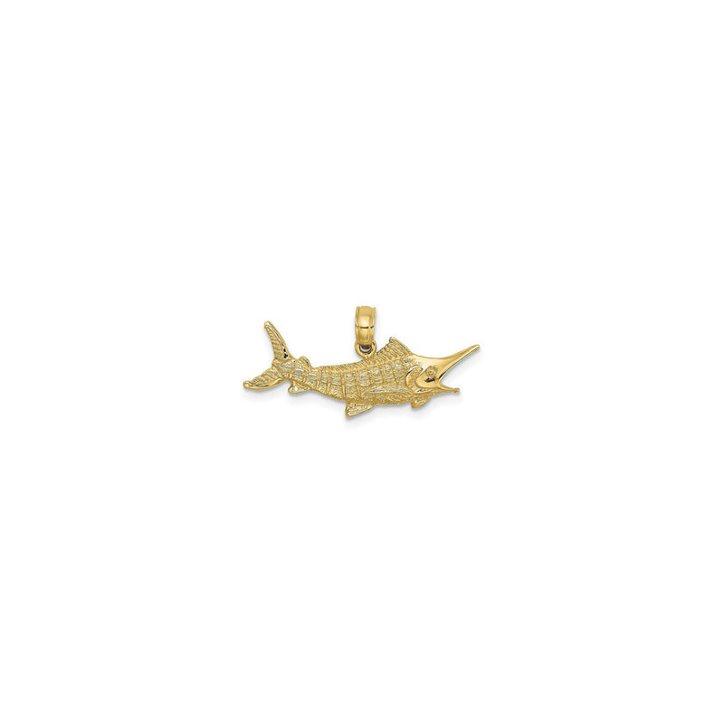 Textured Marlin Fish Pendant Small (14K) front - Popular Jewelry - New York