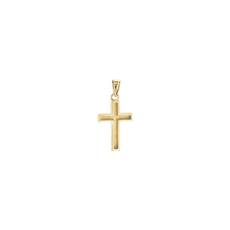Wood Pattern Cross Pendant yellow small (14K) back - Popular Jewelry - New York