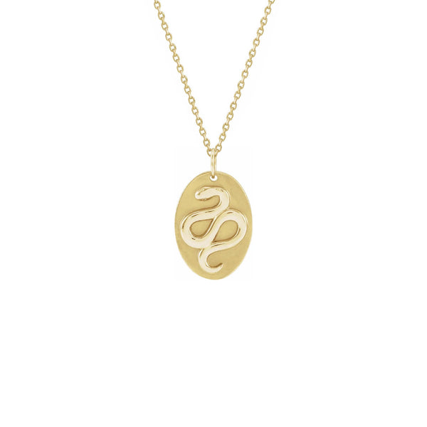 Snake Oval Medal Necklace yellow (14K) front - Popular Jewelry - New York