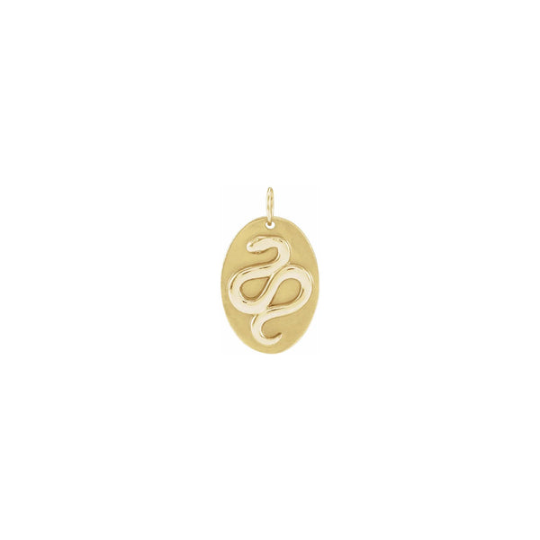 Snake Oval Medal Pendant yellow (14K) front - Popular Jewelry - New York