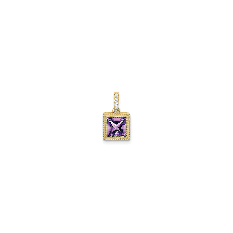 Square Amethyst & Diamond Bezel Pendant (14K) front - Popular Jewelry - New York