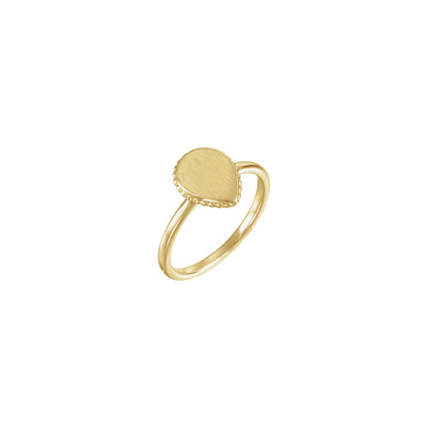 Teardrop Beaded Stackable Signet Ring yellow (14K) main - Popular Jewelry - New York