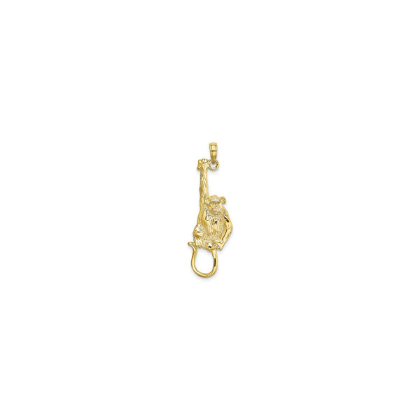 Textured Hanging Monkey Pendant (14K) front - Popular Jewelry - New York