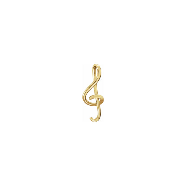 Treble Clef Musical Note Pendant yellow (14K) front - Popular Jewelry - New York