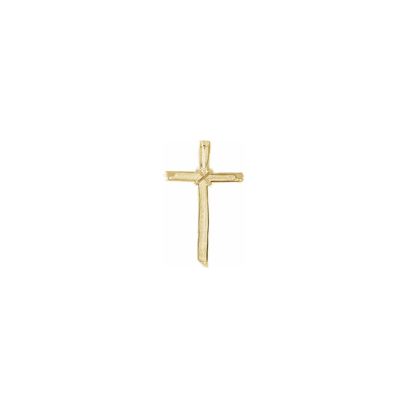 Woodgrain Cross Pendant yellow (14K) back - Popular Jewelry - New York