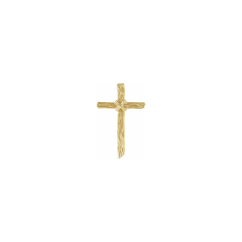 Woodgrain Cross Pendant yellow (14K) front - Popular Jewelry - New York