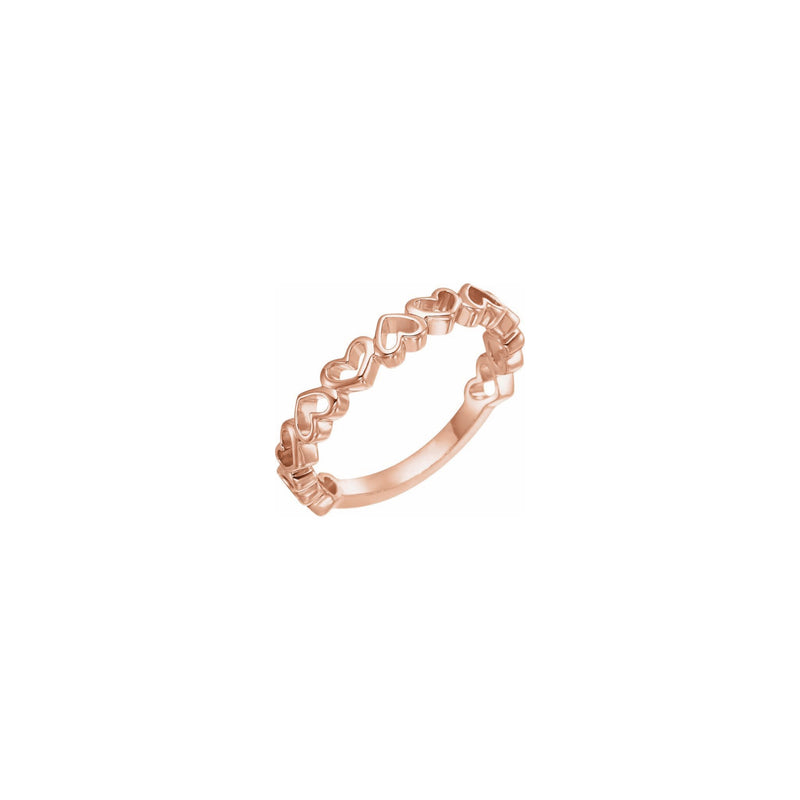 Alternating Heart Contours Ring rose (14K) main - Popular Jewelry - New York