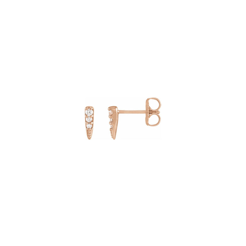 Diamond Incrusted Spike Stud Earrings rose (14K) main - Popular Jewelry - New York