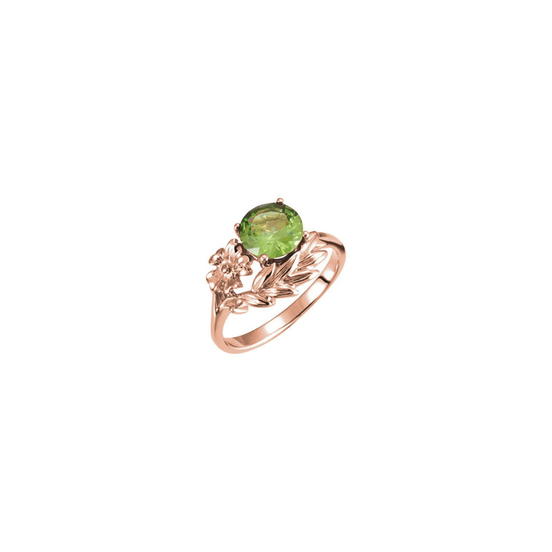 Round Green Gemstone Floral Ring rose (14K) main - Popular Jewelry - New York