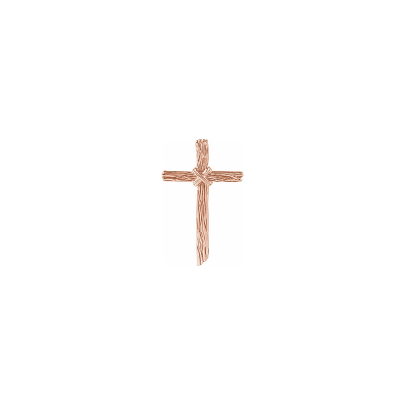 Woodgrain Cross Pendant rose (14K) front - Popular Jewelry - New York