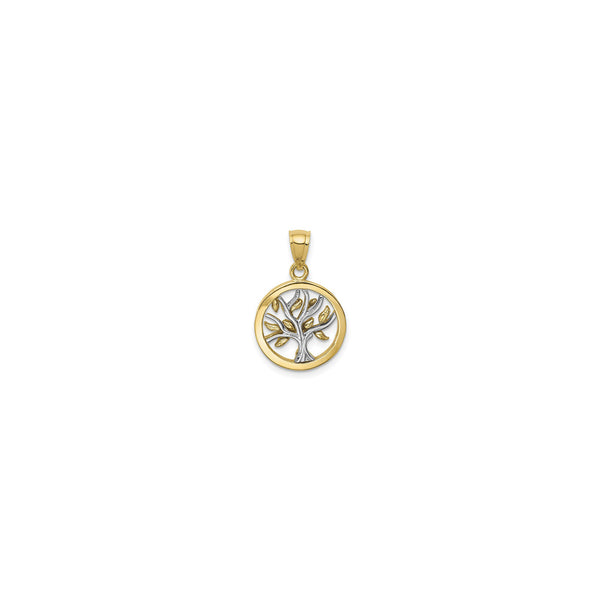 Golden Leaves Tree Circle Pendant (14K) front - Popular Jewelry - New York