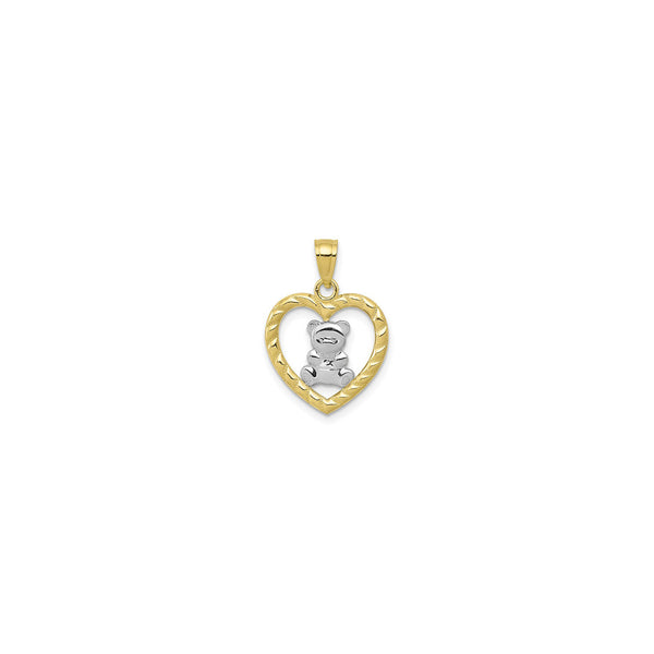 Teddy Bear Heart Pendant (10K) front - Popular Jewelry - New York