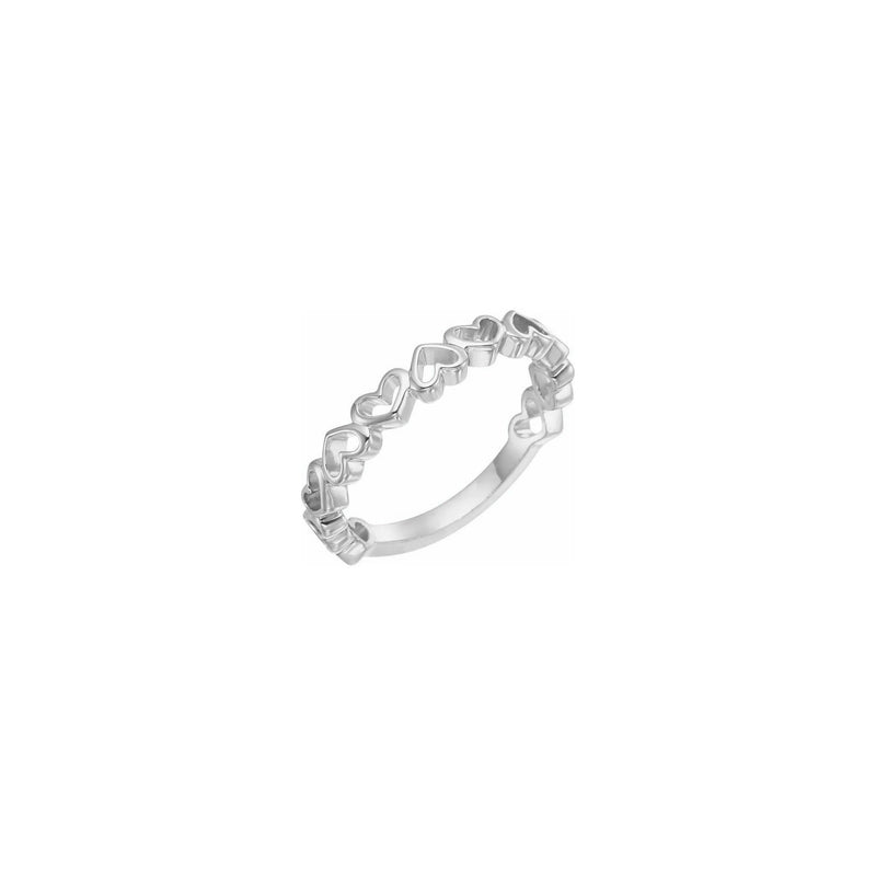 Alternating Heart Contours Ring white (14K) main - Popular Jewelry - New York