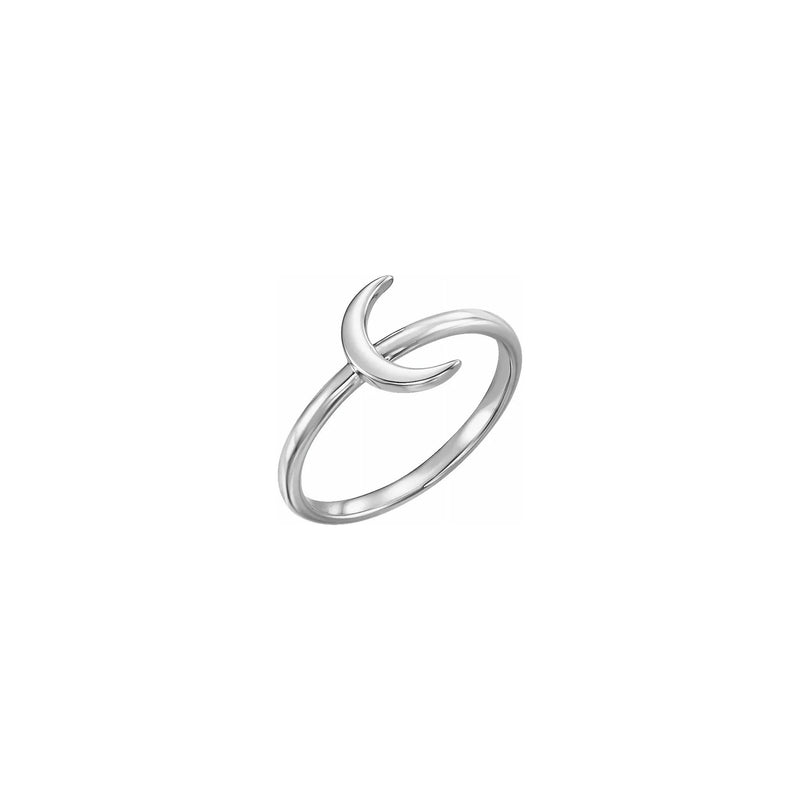 Crescent Moon Stackable Ring white (14K) main - Popular Jewelry - New York