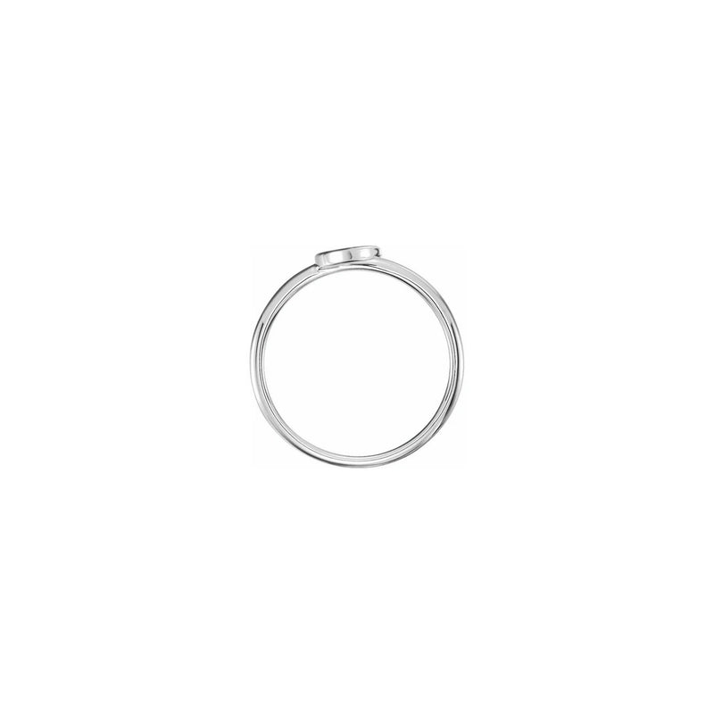 Crescent Moon Stackable Ring white (14K) setting - Popular Jewelry - New York