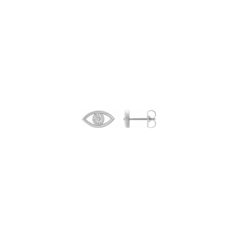 Evil Eye Contour Stud Earrings white (14K) main - Popular Jewelry - New York