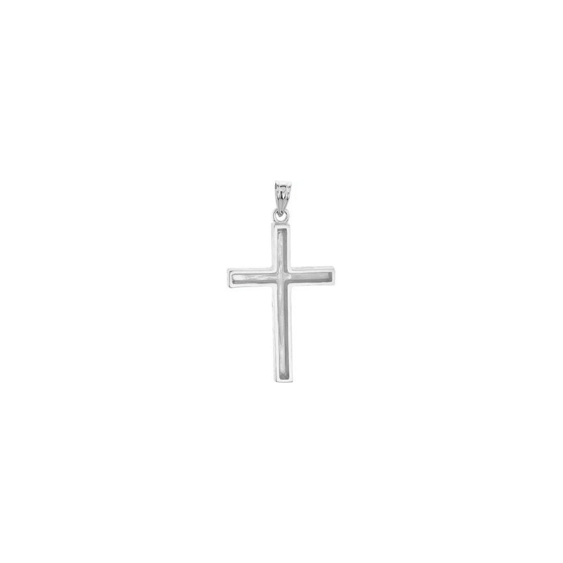 Wood Pattern Cross Pendant white large (14K) back - Popular Jewelry - New York