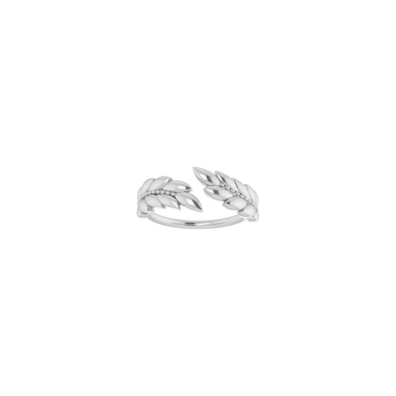 Laurel Wreath Ring white (14K) front - Popular Jewelry - New York